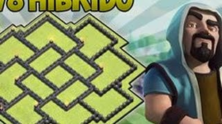 LAYOUT HIBRIDO CV 8 - ''2016'' - BEST BASE  HIBRIDE TH8 - CLASH OF CLANS