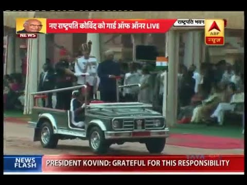 Delhi: President Ram Nath Kovind inspects Guard of Honour at Rashtrapati Bhawan