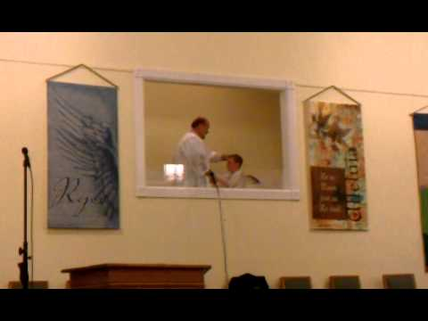 Hayden Duerson getting baptized