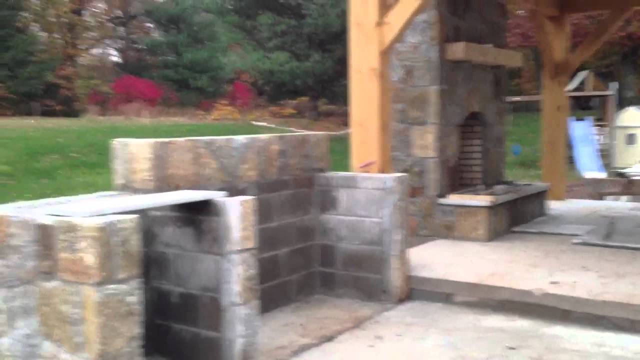 how to build outdoor fireplace pavilion with outdoor kitche youtube