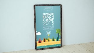 Create Summer Beach Camp Poster with Illustrator