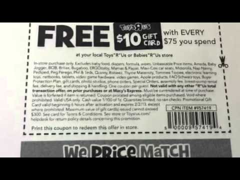TOYS R US - $10 GIFT CARDS