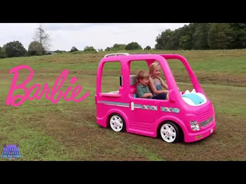 Barbie RV Camper Power Wheels Ride on Pretend Play Food Truck Surprise for Play Doh Girl