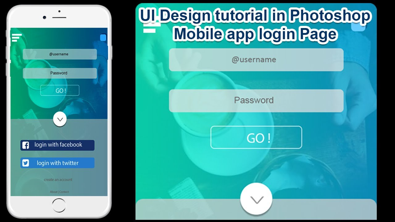 Mobile App Character Design : Ui design tutorial in photoshop mobile app login page step