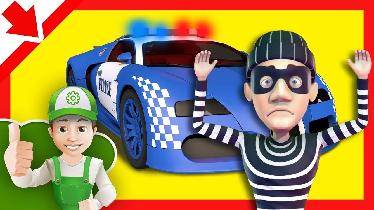 Macchine polizia cartoni. auto polizia bimbi. cartoni della polizia