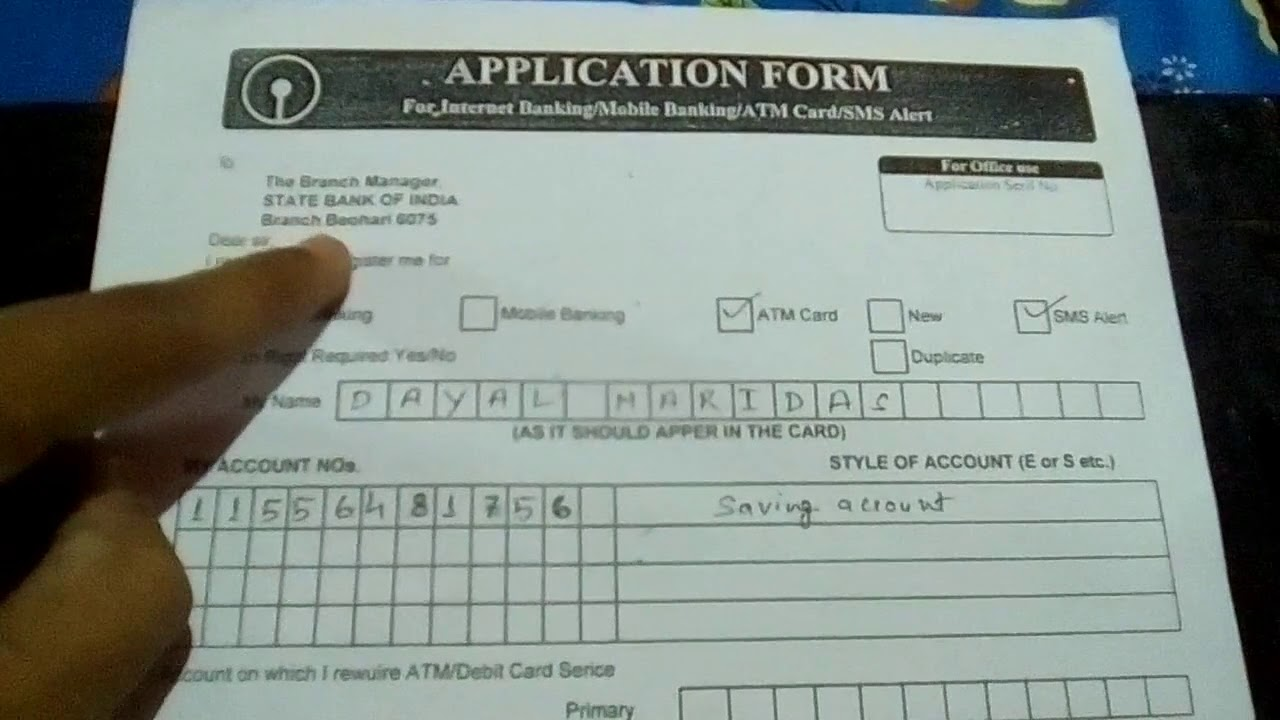 Application form for atm card in sbi letter formats and sample.