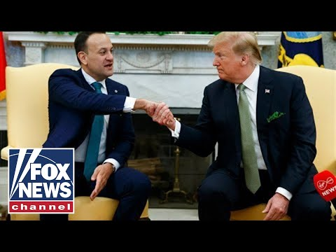 Trump receives Shamrock Bowl from Irish PM Leo Varadkar