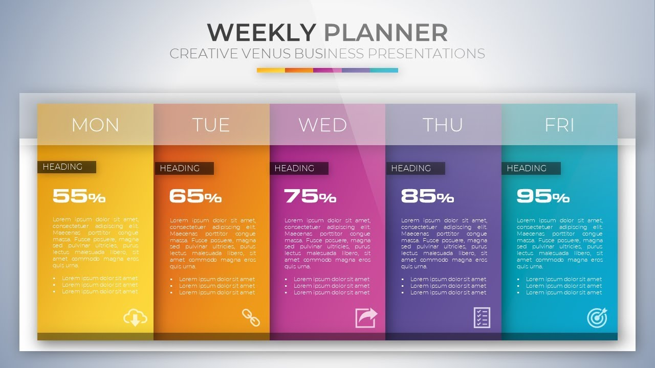 how to create weekly planner presentation slide design in