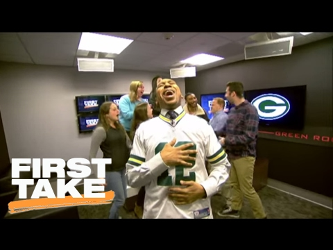 Stephen A. Smith Celebrates Cowboys' Loss By Wearing Rodgers' Jersey | First Take | January 26, 2017