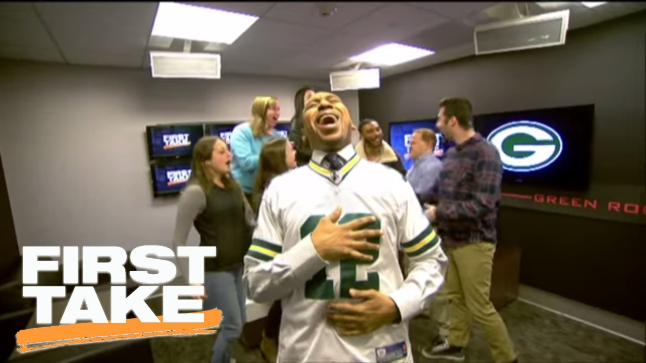 outlet store b4ba7 2fe8a Stephen A. Smith Celebrates Cowboys' Loss By Wearing Rodgers' Jersey |  First Take | January 26, 2017