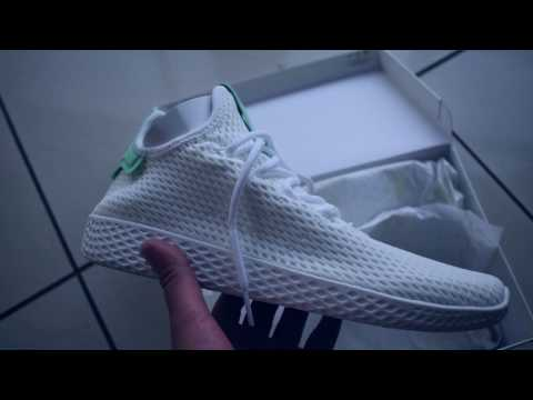 d25213269 Pharrell Williams X Adidas Stan Smith tennis Hu shoes + on feet