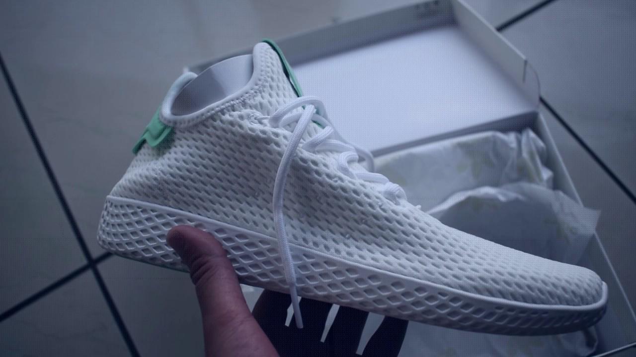 e5844d8df ... greece pharrell williams x adidas stan smith tennis hu shoes on feet  51fa2 f47cd