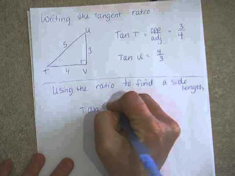 Geometry 8 3 Tangent Ratio Writing a ratio and finding a side part 1