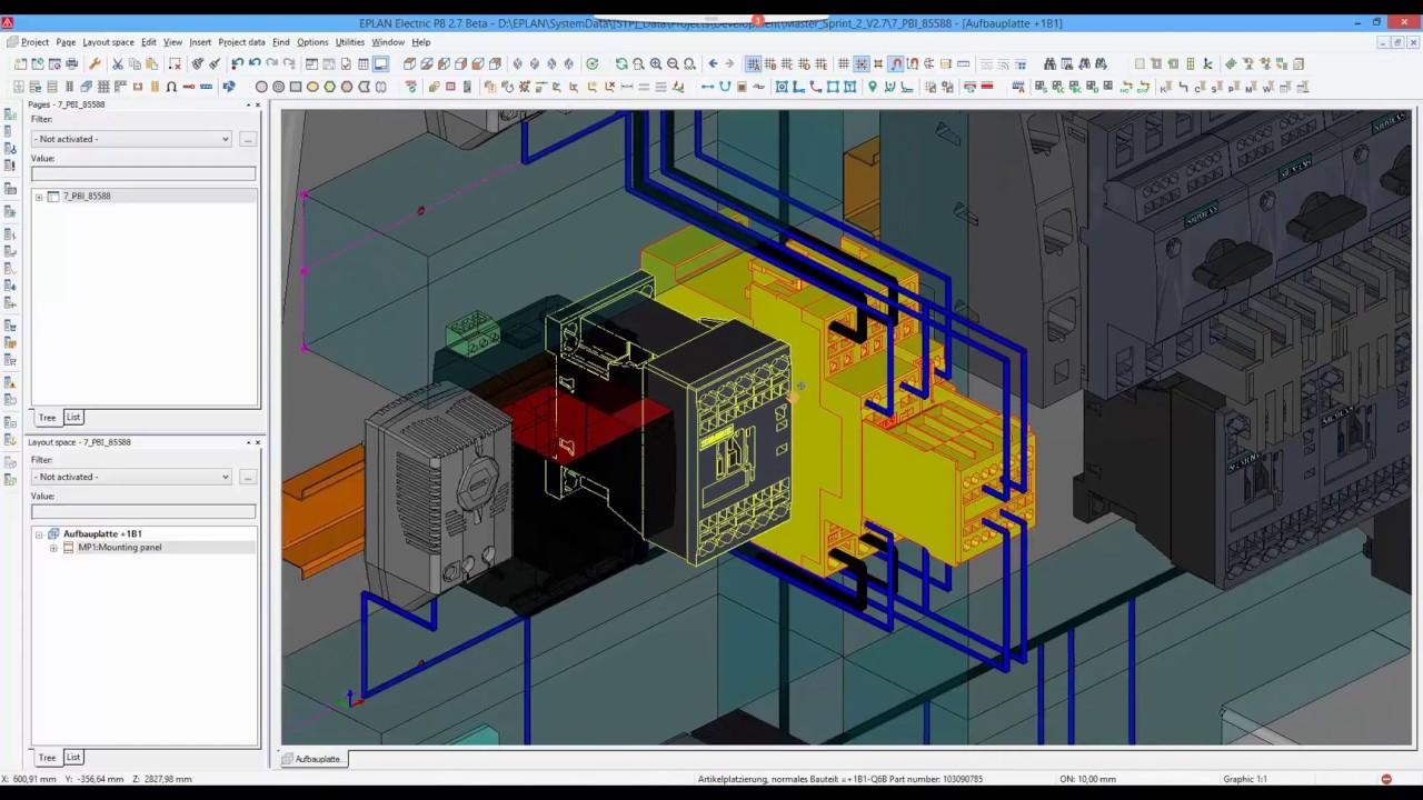 EPLAN Pro Panel, Version 27: 3D wiring  YouTube