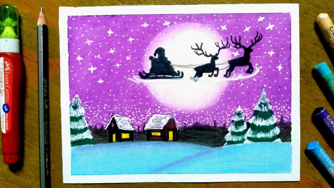 Santa Claus Scenery Drawing With Oil Pastels Christmas Scenery Drawing Youtube Oil Pastel Christmas Scenery Christmas Drawing