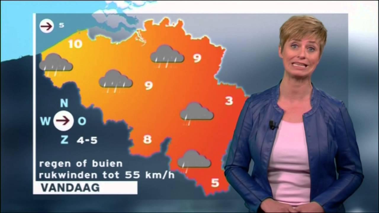 Weervrouw Sabine Hagedoren op 25 april 2016 met weerbericht voor Vlaanderen #1