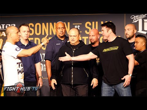 THE BAD GUY RETURNS! Chael Sonnen vs  Wanderlei Silva FULL WEIGH IN & FACE OFF VIDEO