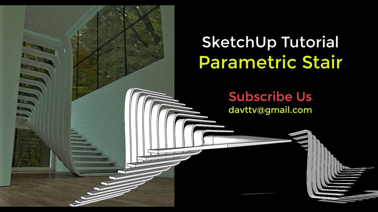 SketchUp Tutorial : Parametric Stair by free plugins