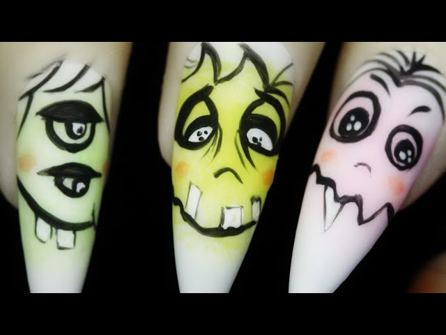 How To Create Silly Monster Faces Freehand Halloween Nail Art Design 2020