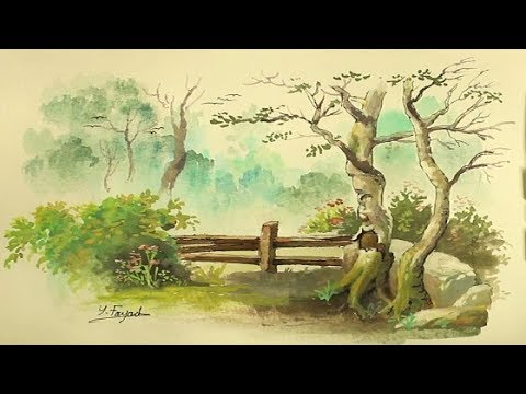 Simple Watercolor Painting Landscape With Yasser Fayad