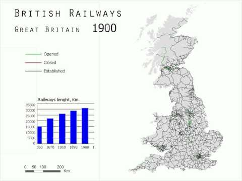 Great Britain Railways Evolution between 1830 and 2000
