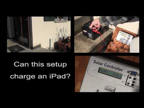Solar charging an iPad with a makeshift system