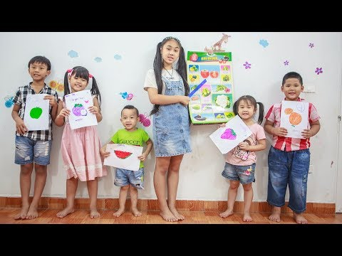 Kids Go To School | Chuns with Best Friends Learn How To Distinguish Type Of Fruit