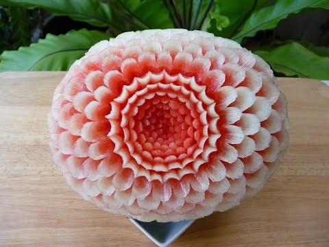 แกะสลักแตงโมลายบานชื่น แบบที่5Watermelon Carving@5