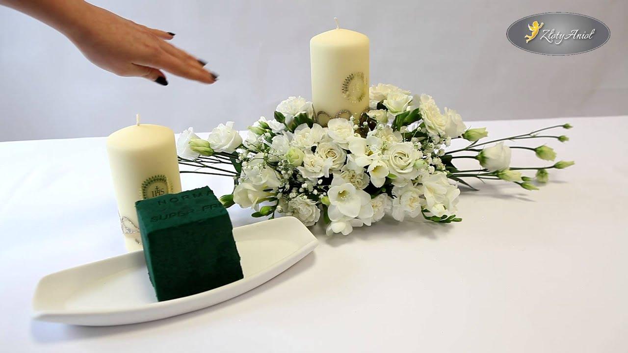60977c5a9a Dekoracje stołu komunijnego  kompozycja z kwiatami i świecą - sklep  ZlotyAniol.pl