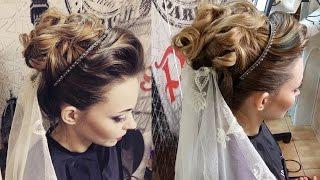 Wedding hair video.Свадебная прическа в греческом стиле Greek wedding hairstyle
