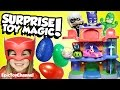 SURPRISE TOYS MAGIC PJ Masks Surprise Eggs + Disney Cars Toy McQueen & Mickey's Roadster Racers