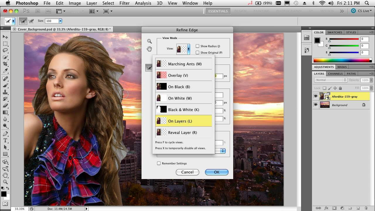 Compositing and Selecting Hair in Photoshop CS11