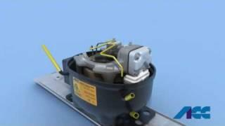 Teile eines Kältemittelkompressors und Kühlkreislauf eines Kühlschranks