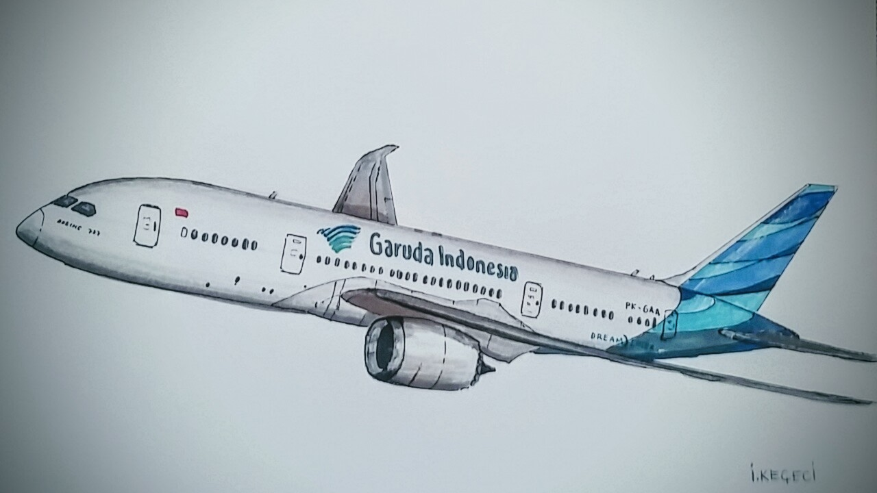 Boeing 787 800 Garuda Indonesia Drawing Timelapse Youtube