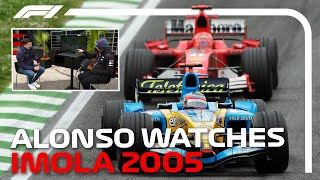 Fernando Alonso Re-Watches His Epic Battle With Michael Schumacher! | Emilia Romagna Grand Prix