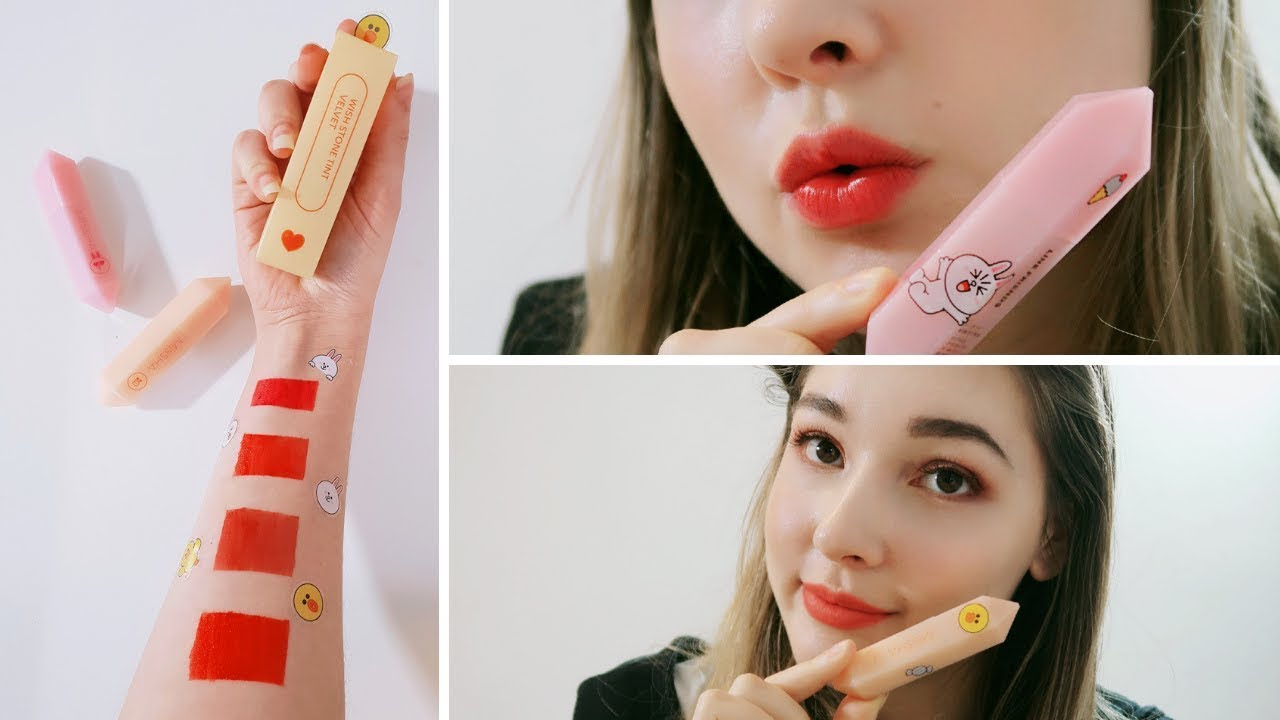 Missha X Line Friends Wish Stone Tint Velvet Water Gel Review Swatches Youtube