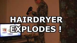 Hairdryer Goes BANG - explodes - Girlfriend Prank not gone wrong lol