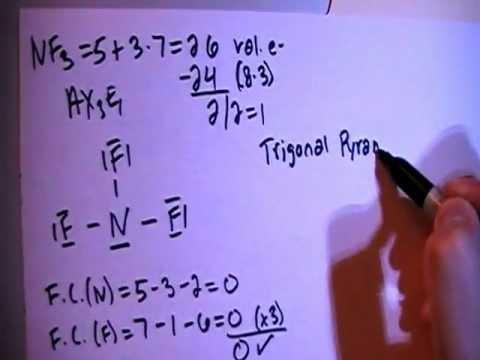 Diagram Of Nitrogen Nitrogen Trifluoride Nf3 Lewis Dot Structure Youtube