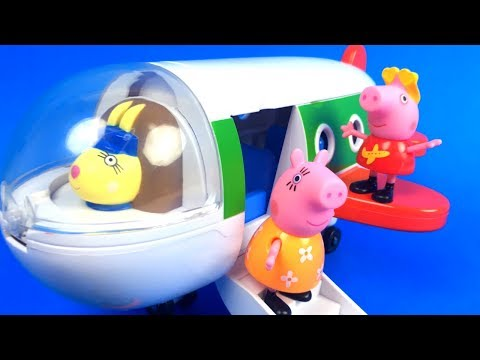 PEPPA PIG'S HOLIDAY PLANE WITH PEPPA PIG  MAMA PIG -  UNBOXING & DISNEY MICKEY MOUSE GOOFY MACK