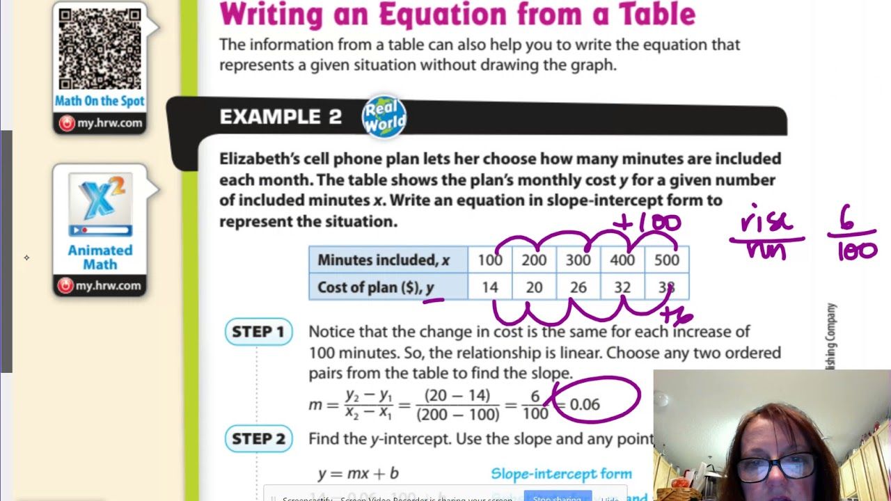 Gm8 52 Writing Linear Equations From A Table Youtube