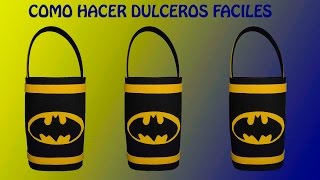 COMO HACER DULCEROS DE BATMAN/COTILLONES  DE BATMAN EN FOAMI