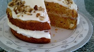 How To Make A Carrot Cake With Cream Cheese Frosting. Moist And Healthy, Low-fat (diet).