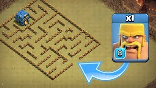 ONE TROOP vs LEVEL 1 MAZE BASE Clash Of Clans