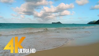 4K Relaxing Waves Oahu Beach Hawaii 3 HOUR Ocean Sounds Ambience Soundscapes