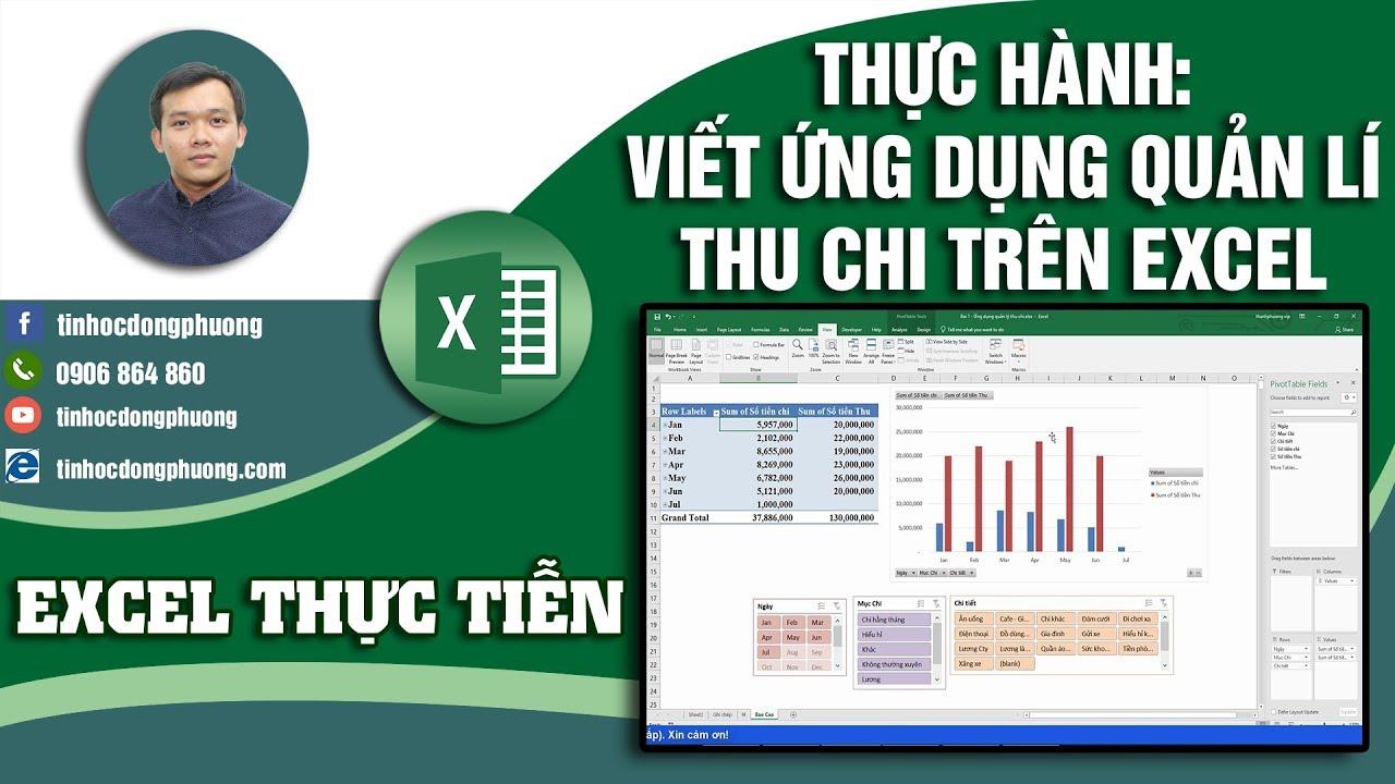 Thực hành Viết ứng dụng Quản lý Thu chi trên Excel | Excel Thực Tiễn