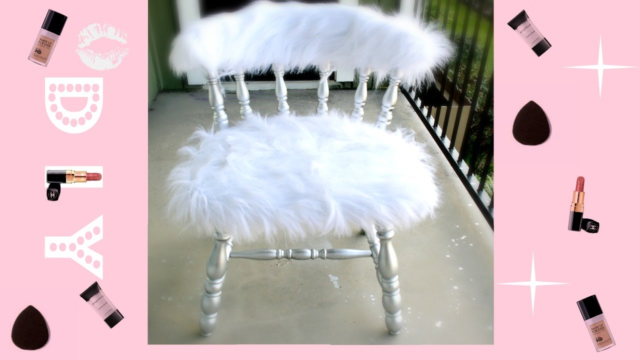 Easiest DIY EVER! :| Faux Fur Vanity Chair - YouTube