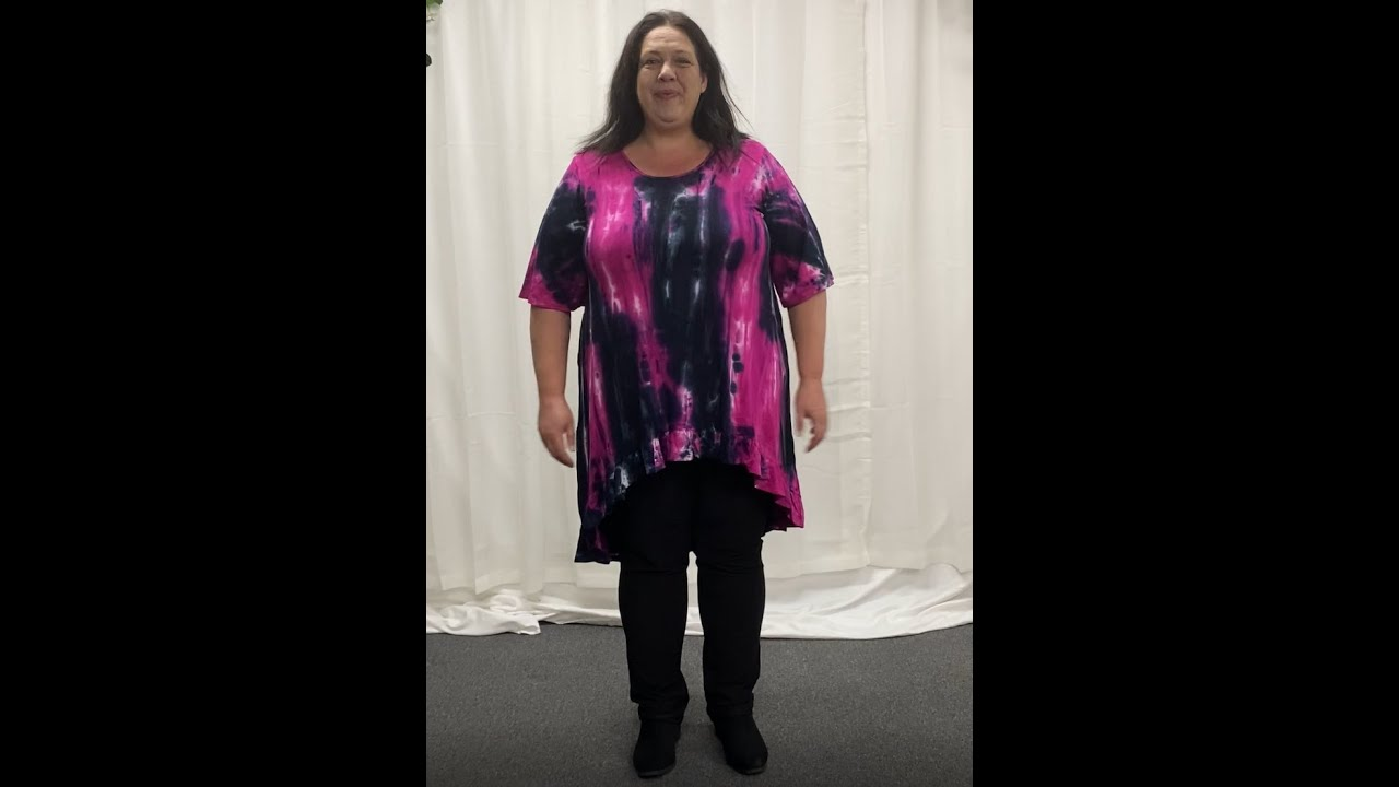 Black Ink Blue Pink Tie Dye Long Tunic  (CK5338B)
