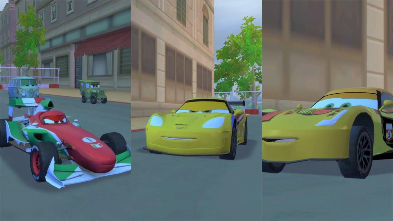 Cars 2 usa jeff gorvette vs ita francesco bernoulli vs spa miguel camino youtube - Coloriage cars 2 miguel camino ...