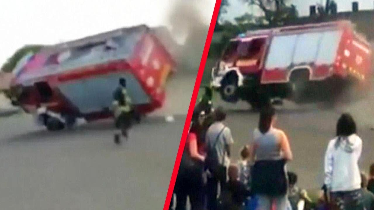 Out-of-Control Fire Truck Rolls Over During Demonstration