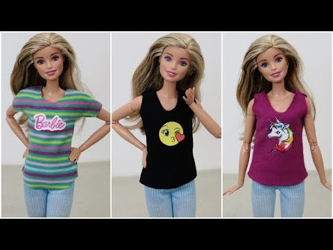Camisetas Estampadas para Barbie DIY